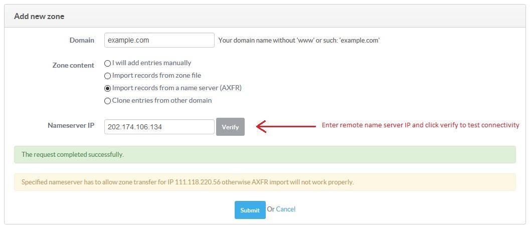 Select import via AXFR